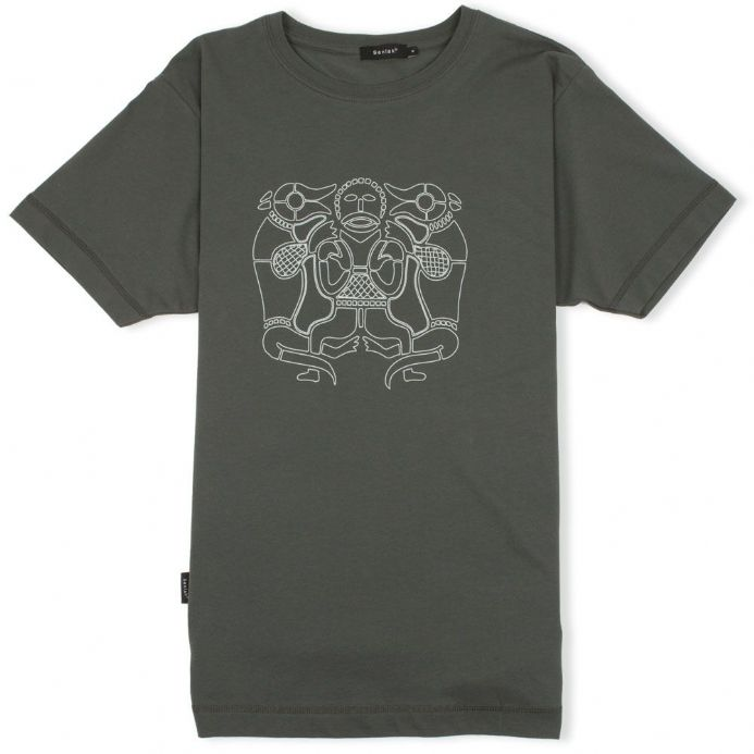 Tiw Anglo-Saxon God charcoal t-shirt with Senlak branding on sleeve